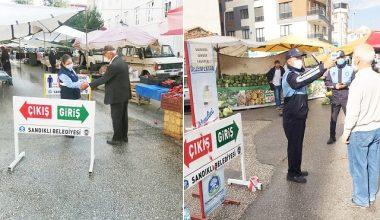Sandıklı'da kurulan Pazarlar'da pandemi  önlemi devam ediyor